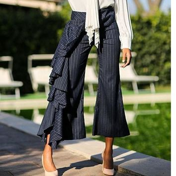 Frill Ombre Pinstripe Flared Cuff Pants