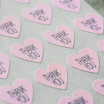 96 Light Pink Thank You Stickers, Heart Stickers, Envelope Labels, Wedding Seals, Gift Wrapping
