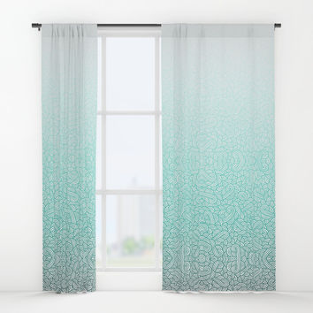 Gradient turquoise blue and white swirls doodles Window Curtains by Savousepate