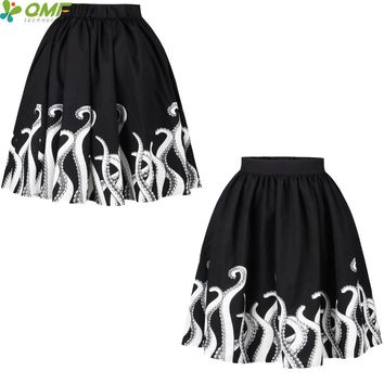 Monsters Tentacles Print Pleated Tennis Skirts Vintage Classic Black Faldas Cartoon Octopus Punk Women Midi Party Skirt Flared