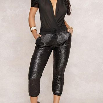 Black Patchwork Sequin Drawstring Pockets Sparkly High Waisted Clubwear Nine's Pants