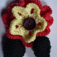 OOAK hand knitted flower brooch pin. Salmon and yellow