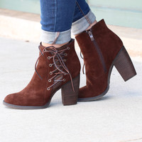 Volatile: Seesta Side Lace Up Bootie {Brown}