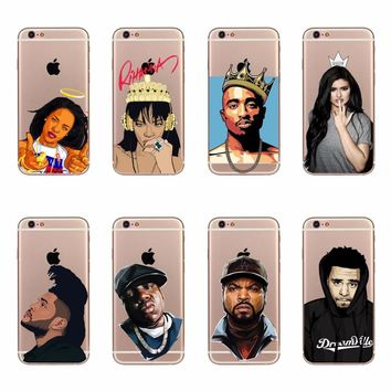 Cool Ice Cube J. Cole Kylie Jenner Rihanna Design Cases For iPhone 5 5s se 6 6s 7 Plus Transparent Clear Soft TPU Silicone Cover