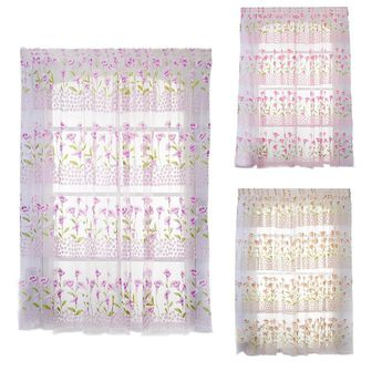 Transparent Curtain Calla Lily Floral Window Curtain Summer Prevent Mosquito Curtain Window Decoration Bedroom Home Decor