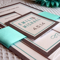 Tiffany Blue Wedding Invitation - Tiffany Blue Wedding Invite, Invitation Set, Belly Band, Fun, Modern, Contemporary - DEPOSIT
