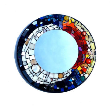 Celestial Stained Glass Mosaic Art Mirror, Sun and Moon Mixed Media Home Decor. Boho Glass Artwork.