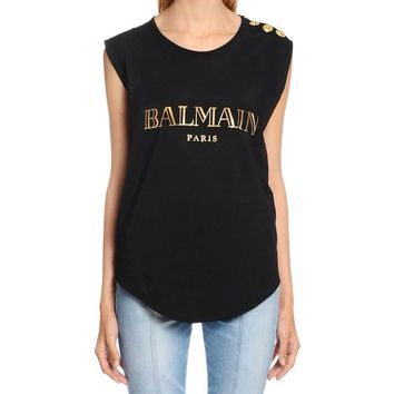 Balmain Women Simple Print Letter Sleeveless Vest Buttons Decoration T-shirt Cotton Tops-1