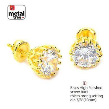 Jewelry Kay style Men's 14k Gold Plated Hip Hop Round Iced CZ Stud Screw Back Earrings SE 11827 G