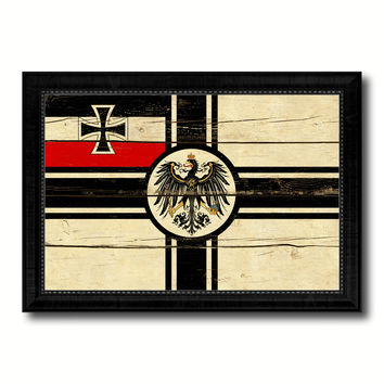 Imperial German Navy 1867-1871 War Military Flag Vintage Canvas Print with Black Picture Frame Home Decor Wall Art Decoration Gift Ideas