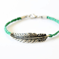 Feather Braided Bracelet - Green