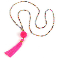 Pom Tassel Long Necklace - Pink