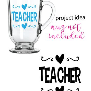 Teacher with Hearts Vinyl Graphic Decal Sticker