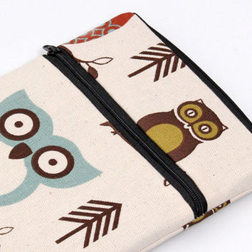 Owl iPad mini sleeve, zipper iPad mini pouch, apple ipad mini cover with zipper front pocket - owls