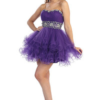 Short Layered Prom Dress with Beading in Purple