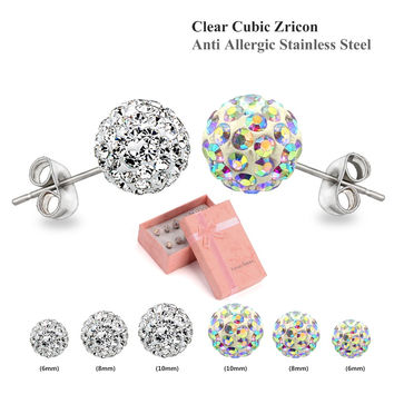 2016 Fashion 3 Pairs White And Multicolour Cubic Zircon Clay Beads Earrings Rhinestone Shamballa Earrings Set Fashion Jewelry