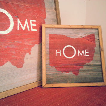 OHIO STATE SIGN on Barn wood. Vintage, modern, and just plain cool