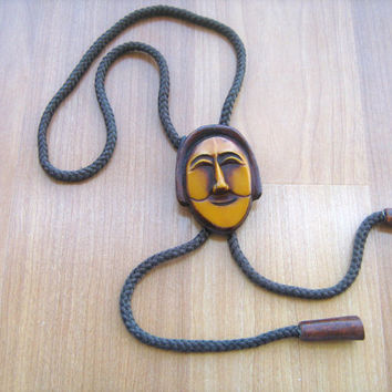 Vintage Bolo Tie Wooden Carved Face Signed