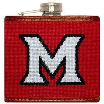 Miami University Needlepoint Flask in Red by Smathers & Branson