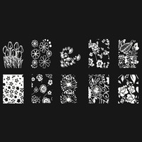 White One Piece Flowers Patterns Nail Art Print Template