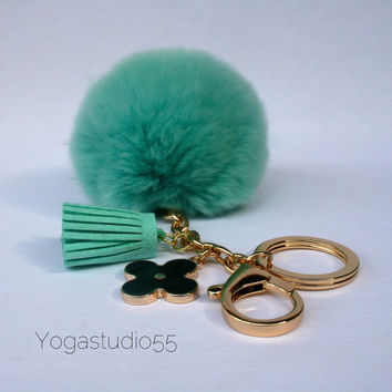 Pom-Perfect Candy Green REX Rabbit fur pom pom ball with black flower keychain and green tassel
