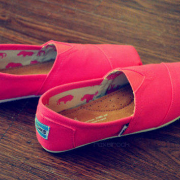 ON SALE Bright Pink Hand Painted TOMS Shoes Neon Fluorescent