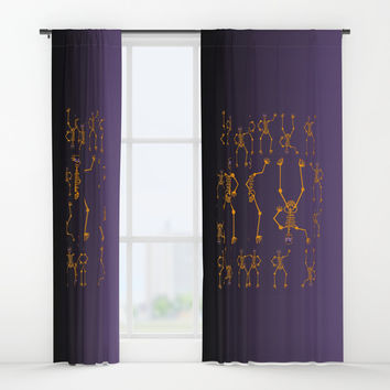 Halloween Skeleton Orange Window Curtains by Zia