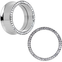 25mm Clear CZ Gem Stainless Steel Internally Threaded Tunnel Plug Set