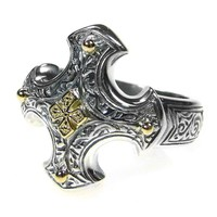 Gerochristo 2713 ~ Solid Gold & Silver - Medieval-Byzantine Cross Ring