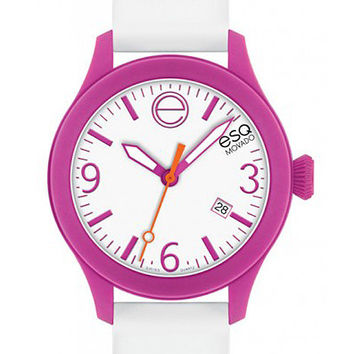 ESQ Movado One Strap Watch - White and Fuchsia Design - Date Display - 100M WR