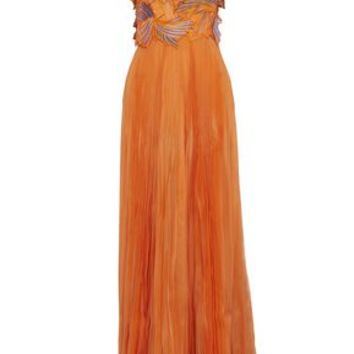Appliquéd embroidered pleated silk-organza gown | EMILIO PUCCI | Sale up to 70% off | THE OUTNET