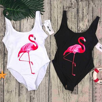 Women One Piece Swimsuit birds Printed Bathing Suit