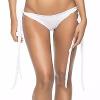 White Matte Color Side Tie Bottoms