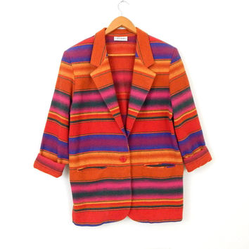 Vintage 80s 90s Southwest Striped Flannel Oversize Blazer - Women's Long Bright Colorful Tribal Blanket Jacket - Size Large