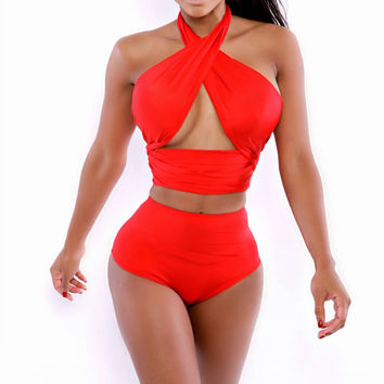 dacc6d3f0e246 Hot Sexy Red Cross Tie Halter Top Swimwear Women High Waist Swimsuit Wrap  Bodycon Bandage Bathing