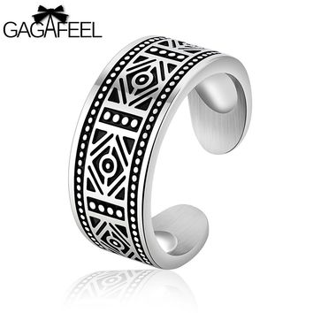 GAGAFEEL Men Ring Letter Engrave Diy Logo 316L Stainless Steel Punk Open Setting Jewelry Gifts For Engagement Male Rings