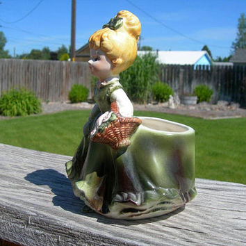 Napco Girl Figurine Planter Vase - Blonde Girl Green Gown - Vintage 1950 Home Decor - Kitschy Figurine Planter - Shabby Cottage - Girls Room