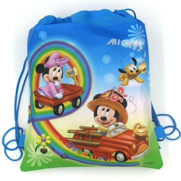 1Pcs MIckey Minnie Mouse Wedding Drawstring Bags Boy Girl Favors Non-Woven Fabric Backpack Birthday Party Decoration Supplies