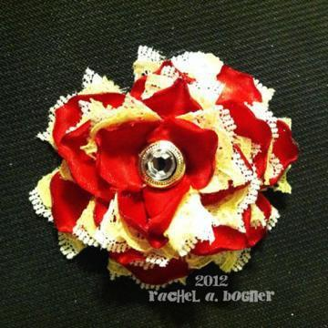 RED and Yellow Flower hair clip 129 by RABOGNER on Zibbet