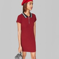 Women's Short Sleeve Quarter-Zip Collared Rib Knit Dress - Wild Fable™ Burgundy
