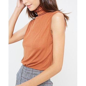 sleeveless ribbed turtle neck knit top - gucci tan