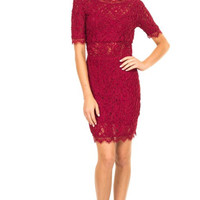 Blissful Burgundy Lace Bodycon Dress
