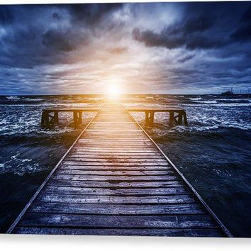 Old Wooden Jetty During Storm On The Ocean. Abstract Light - Canvas Print