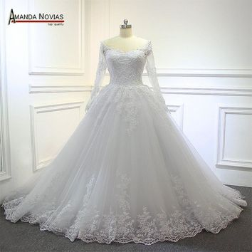 New Arrival Ball Gown Lace Romantic Wedding Dress