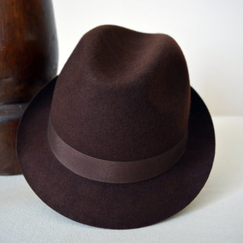 Dark Brown Wool Felt Trilby - Narrow Brim Pure Merino Wool Felt Handmade Trilby Fedora Hat - Men Women
