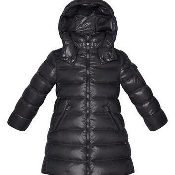 Toddler Girl's Moncler 'Moka' Long Lacquer Hooded Down Jacket