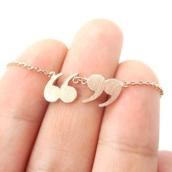 Quotation Marks Inverted Commas Shaped Charm Necklace in Rose Gold | DOTOLY