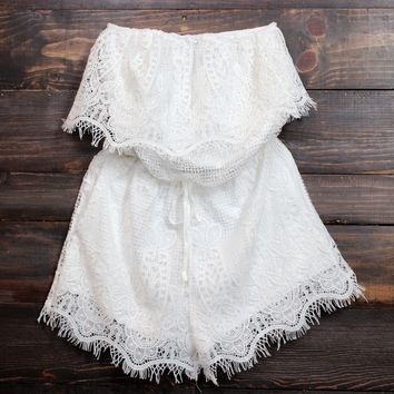 final sale - bat your lashes strapless boho romper in white