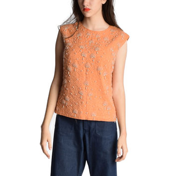 Vintage 1960s Beaded Shell Top