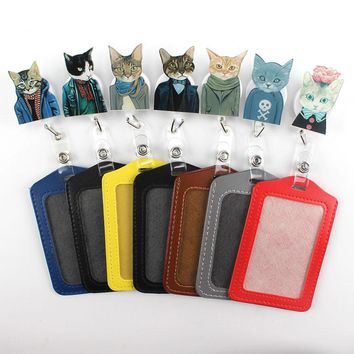 1Pcs Vertical style Cartoon Miss cat Retractable Badge Reel Student Nurse Exihibiton ID Name Card Badge Holder Office Supplies
